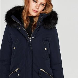 2a031743 Zara Jackets & Coats - Zara texture hood detachable fur parka coat jacket